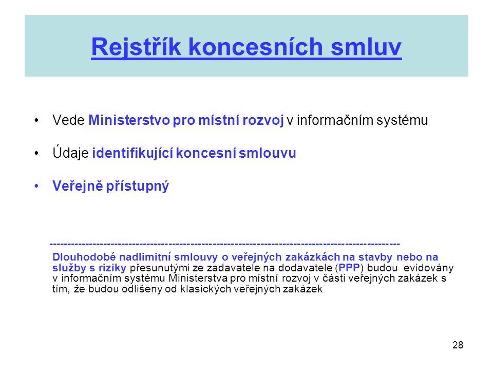 28 Rejstřík koncesních smluv •Vede Ministerstvo pro místní rozvoj v informačním systému •Údaje identifikující koncesní smlouvu •Veřejně přístupný ----