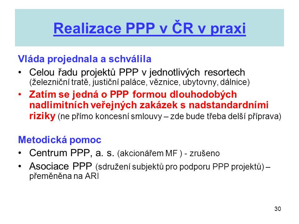 30 Realizace PPP v ČR v praxi Vláda projednala a schválila •Celou řadu projektů PPP v jednotlivých resortech (železniční tratě, justiční paláce, vězni