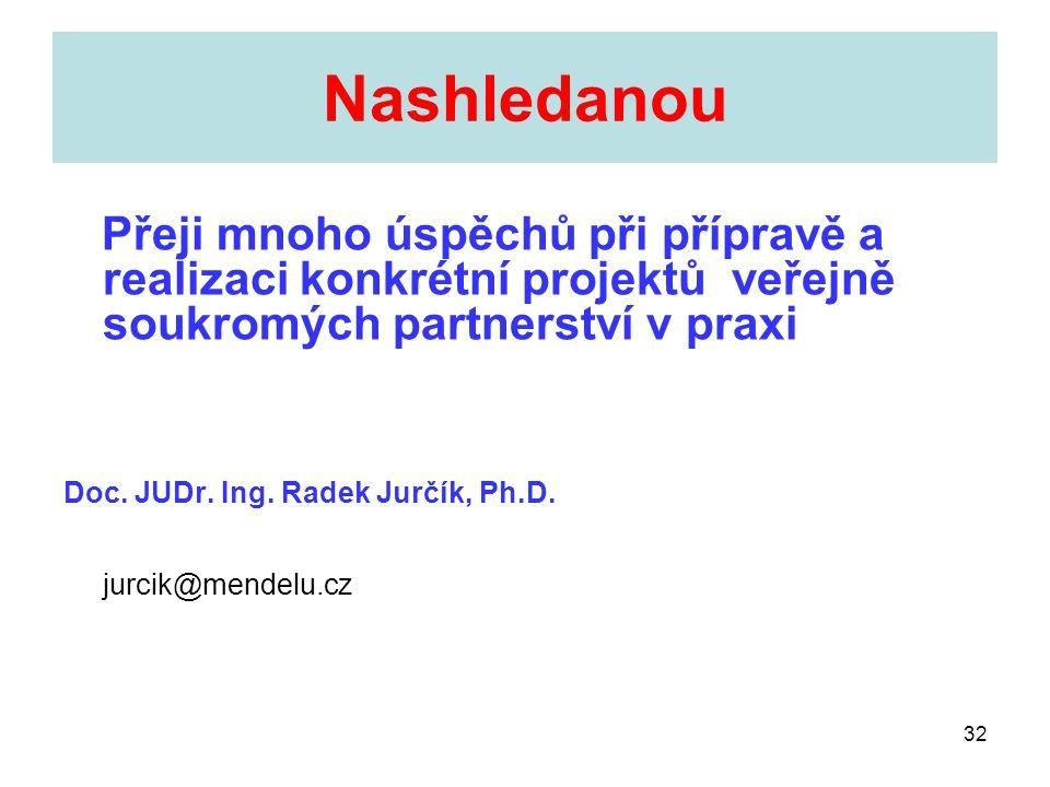 32 Nashledanou Přeji mnoho úspěchů při přípravě a realizaci konkrétní projektů veřejně soukromých partnerství v praxi Doc. JUDr. Ing. Radek Jurčík, Ph