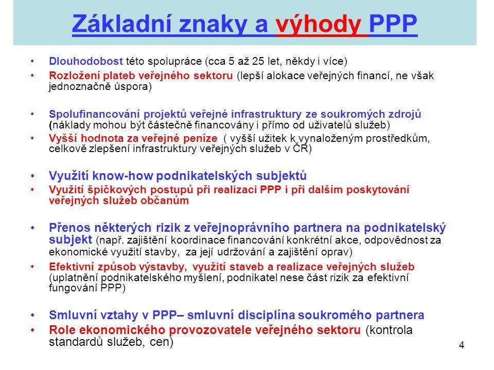 4 Základní znaky a výhody PPP •Dlouhodobost této spolupráce (cca 5 až 25 let, někdy i více) •Rozložení plateb veřejného sektoru (lepší alokace veřejný