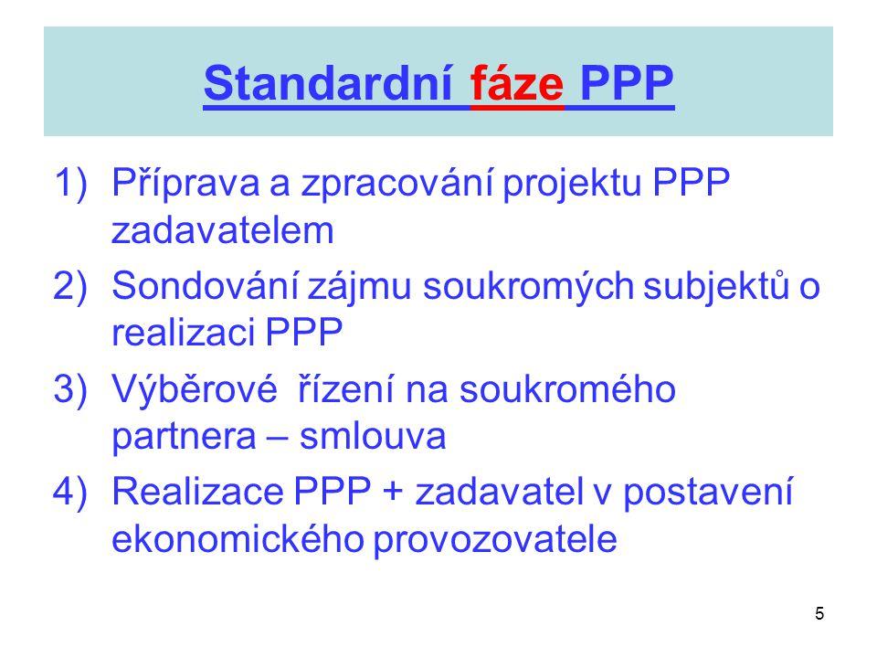 5 Standardní fáze PPP 1)Příprava a zpracování projektu PPP zadavatelem 2)Sondování zájmu soukromých subjektů o realizaci PPP 3)Výběrové řízení na souk