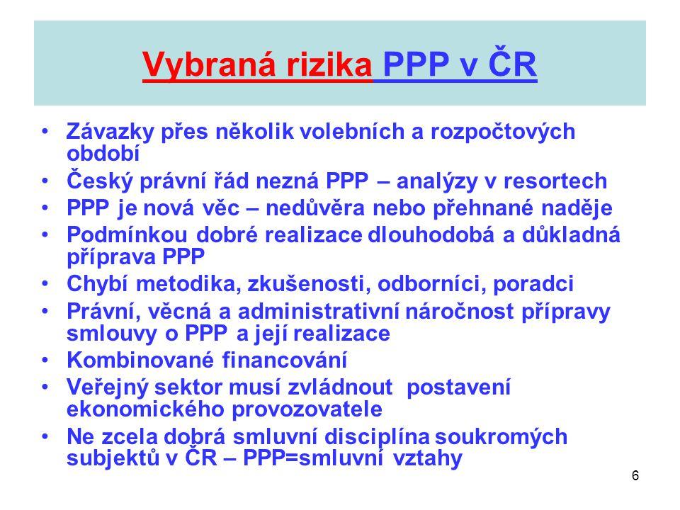 6 Vybraná rizika PPP v ČR •Závazky přes několik volebních a rozpočtových období •Český právní řád nezná PPP – analýzy v resortech •PPP je nová věc – n