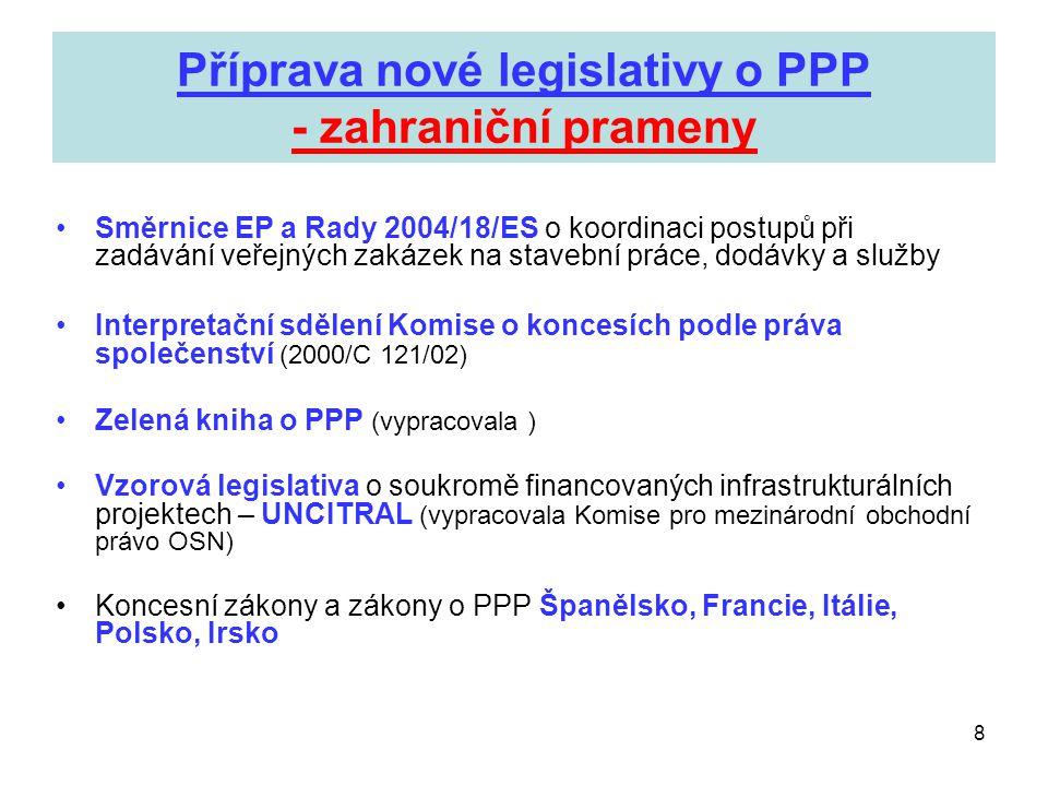 8 Příprava nové legislativy o PPP - zahraniční prameny •Směrnice EP a Rady 2004/18/ES o koordinaci postupů při zadávání veřejných zakázek na stavební