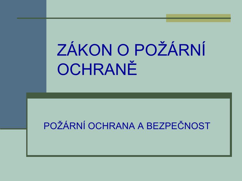 Zákon o požární ochraně  základní právní dokument PO ZÁKON O POŽÁRNÍ OCHRANĚ č.