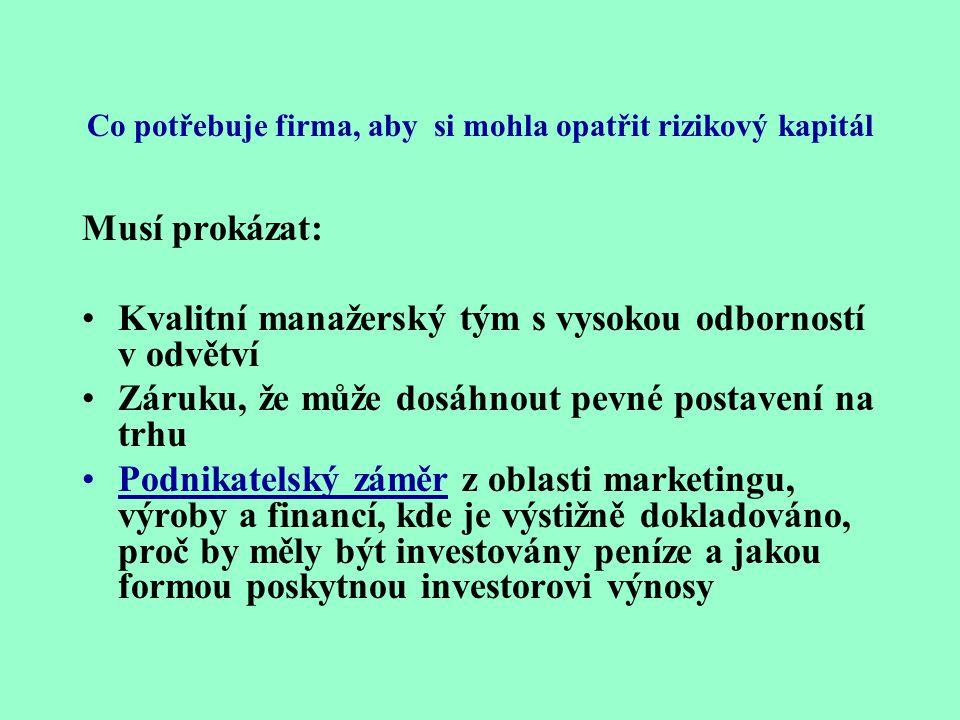 Rizikový kapitál je partnerství podnikatele a investora – investor rizikového kapitálu získává dohodnutý podíl na základním kapitálu. •Prostředek pro