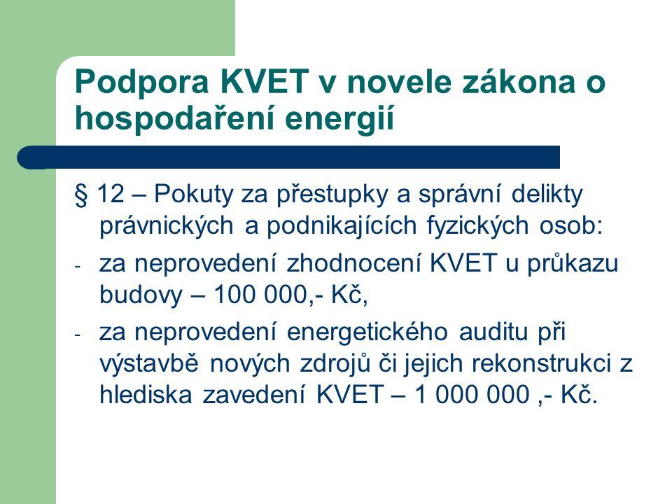 Podpora KVET v novele zákona o hospodaření energií § 12 – Pokuty za přestupky a správní delikty právnických a podnikajících fyzických osob: - za nepro