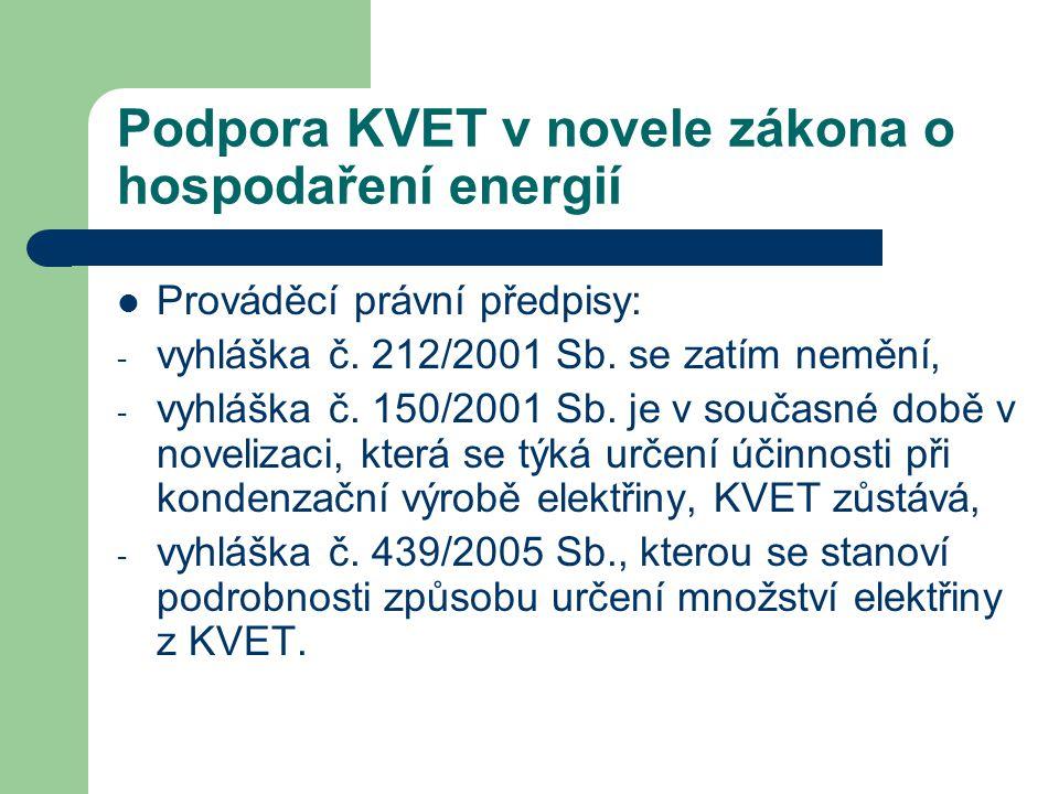 Podpora KVET v novele zákona o hospodaření energií  Prováděcí právní předpisy: - vyhláška č. 212/2001 Sb. se zatím nemění, - vyhláška č. 150/2001 Sb.