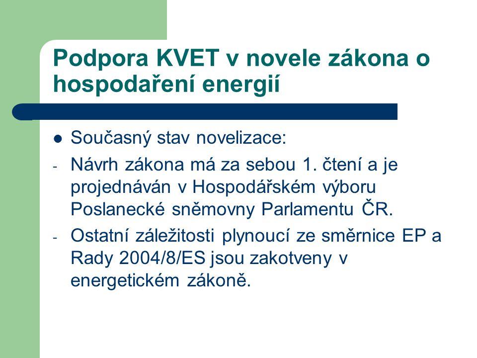Podpora KVET v novele zákona o hospodaření energií  Současný stav novelizace: - Návrh zákona má za sebou 1. čtení a je projednáván v Hospodářském výb