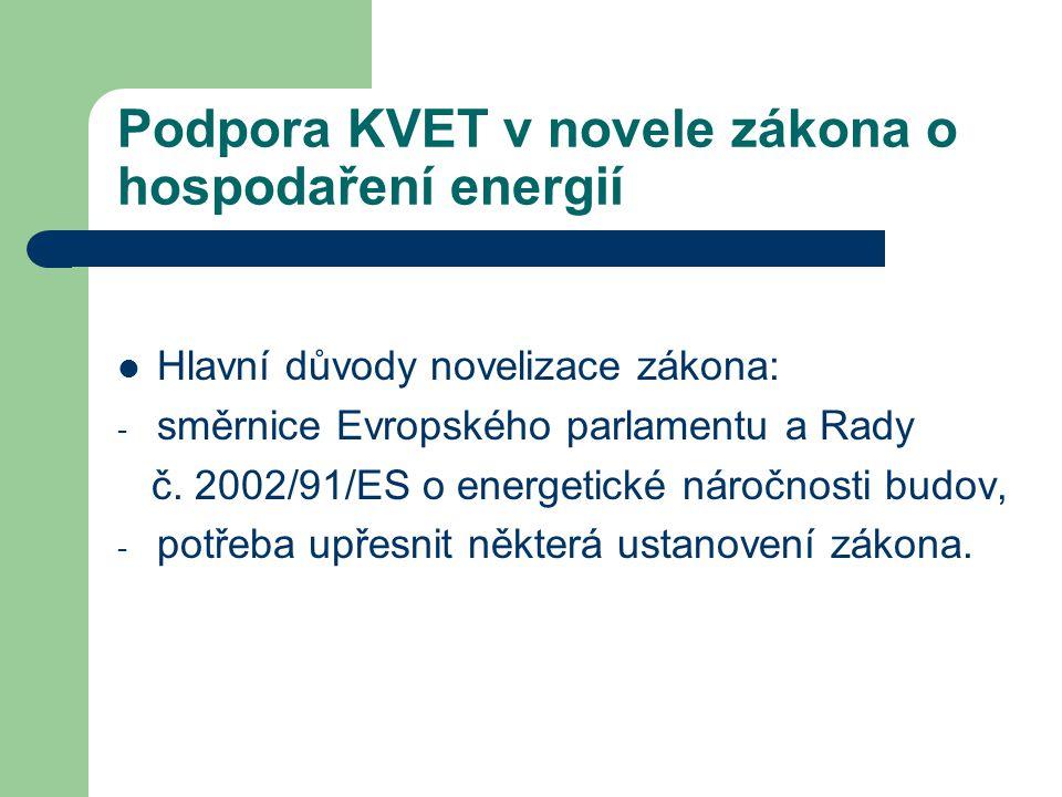 Podpora KVET v novele zákona o hospodaření energií § 12 – Pokuty za přestupky a správní delikty právnických a podnikajících fyzických osob: - za neprovedení zhodnocení KVET u průkazu budovy – 100 000,- Kč, - za neprovedení energetického auditu při výstavbě nových zdrojů či jejich rekonstrukci z hlediska zavedení KVET – 1 000 000,- Kč.