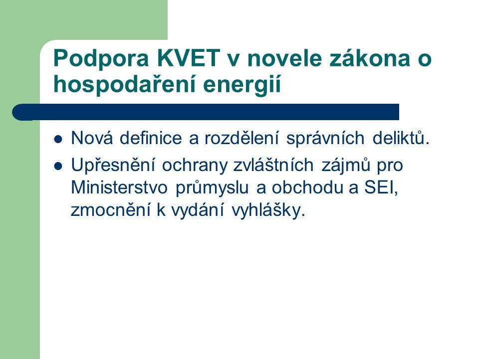 Podpora KVET v novele zákona o hospodaření energií  Nová definice a rozdělení správních deliktů.  Upřesnění ochrany zvláštních zájmů pro Ministerstv