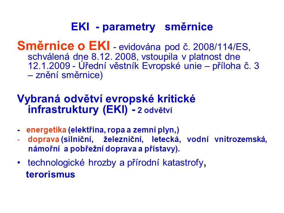 EKI - parametry směrnice Směrnice o EKI - evidována pod č. 2008/114/ES, schválená dne 8.12. 2008, vstoupila v platnost dne 12.1.2009 - Úřední věstník