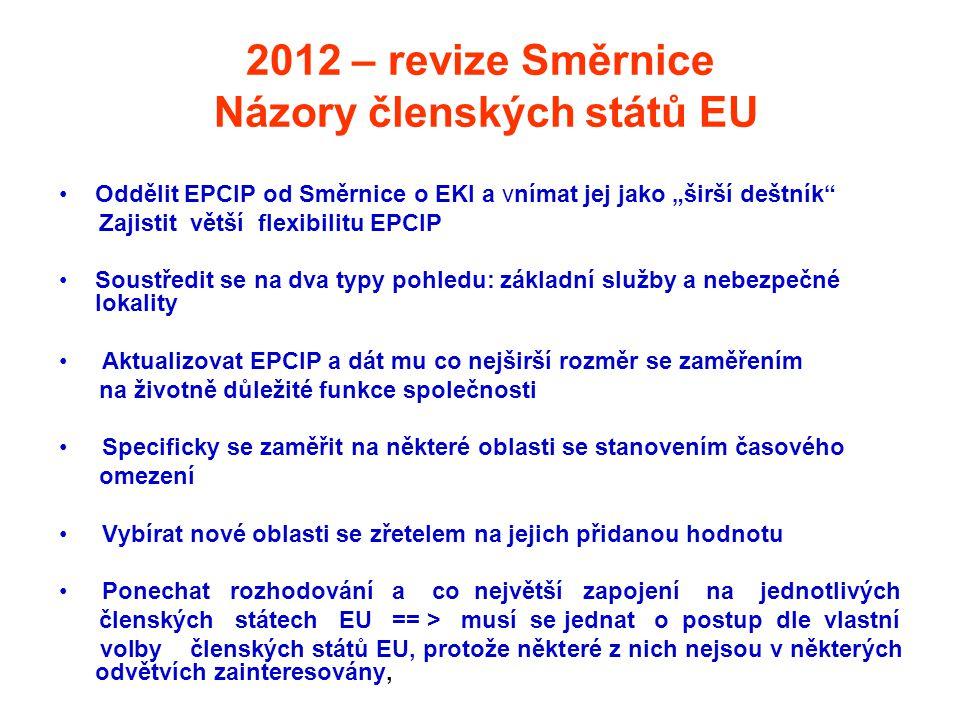 """2012 – revize Směrnice Názory členských států EU •Oddělit EPCIP od Směrnice o EKI a vnímat jej jako """"širší deštník"""" Zajistit větší flexibilitu EPCIP •"""