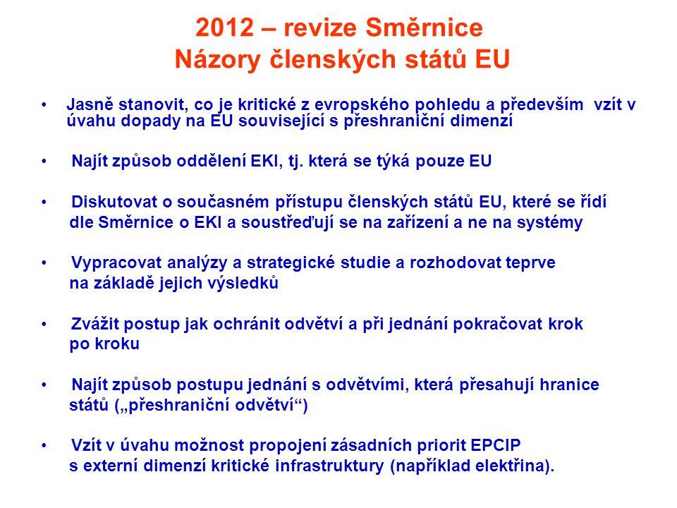 2012 – revize Směrnice Názory členských států EU •Jasně stanovit, co je kritické z evropského pohledu a především vzít v úvahu dopady na EU souvisejíc