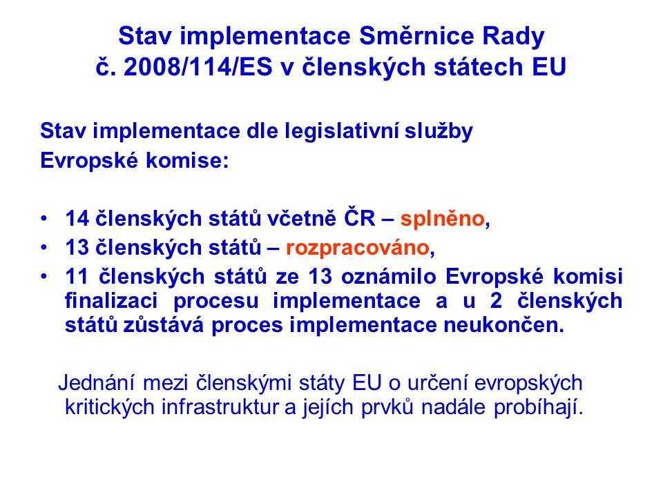 Stav implementace Směrnice Rady č. 2008/114/ES v členských státech EU Stav implementace dle legislativní služby Evropské komise: •14 členských států v