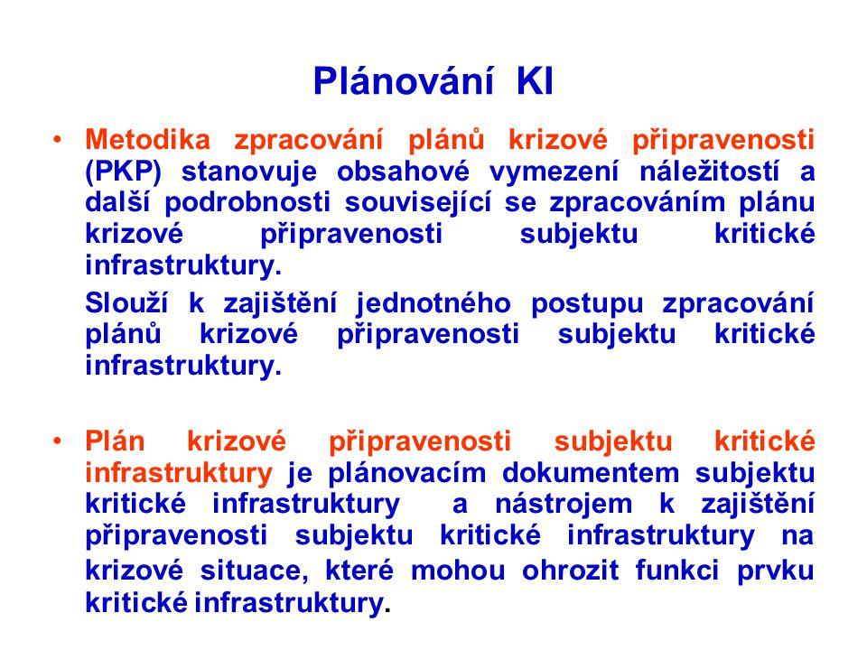 Plánování KI •Metodika zpracování plánů krizové připravenosti (PKP) stanovuje obsahové vymezení náležitostí a další podrobnosti související se zpracov