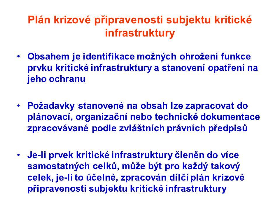Plán krizové připravenosti subjektu kritické infrastruktury •Obsahem je identifikace možných ohrožení funkce prvku kritické infrastruktury a stanovení