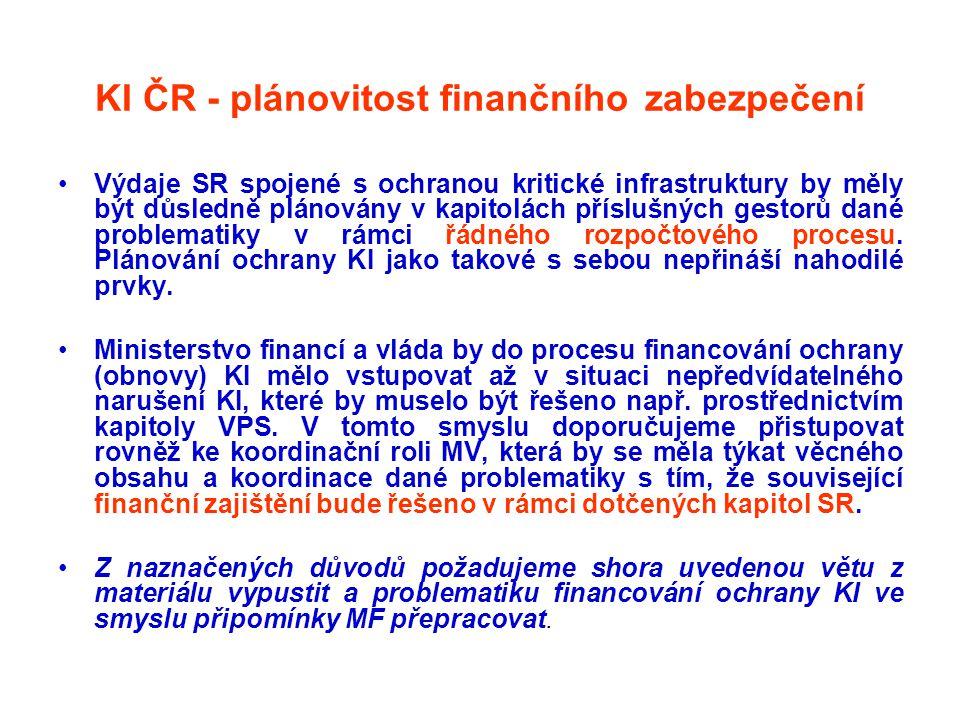 KI ČR - plánovitost finančního zabezpečení •Výdaje SR spojené s ochranou kritické infrastruktury by měly být důsledně plánovány v kapitolách příslušný