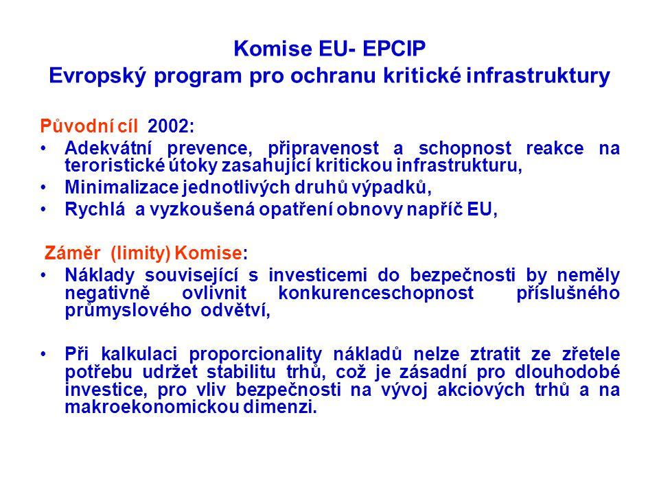 Komise EU- EPCIP Evropský program pro ochranu kritické infrastruktury Původní cíl 2002: •Adekvátní prevence, připravenost a schopnost reakce na terori