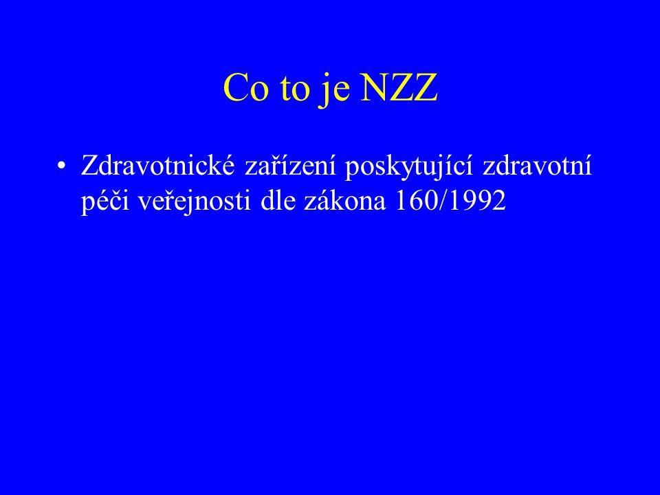 Co to je NZZ •Zdravotnické zařízení poskytující zdravotní péči veřejnosti dle zákona 160/1992