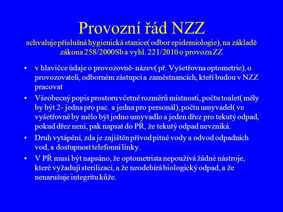 Provozní řád NZZ schvaluje příslušná hygienická stanice( odbor epidemiologie), na základě zákona 258/2000Sb a vyhl. 221/2010 o provozu ZZ •v hlavičce