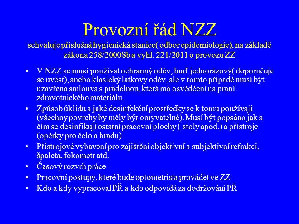 Provozní řád NZZ schvaluje příslušná hygienická stanice( odbor epidemiologie), na základě zákona 258/2000Sb a vyhl. 221/2011 o provozu ZZ •V NZZ se mu