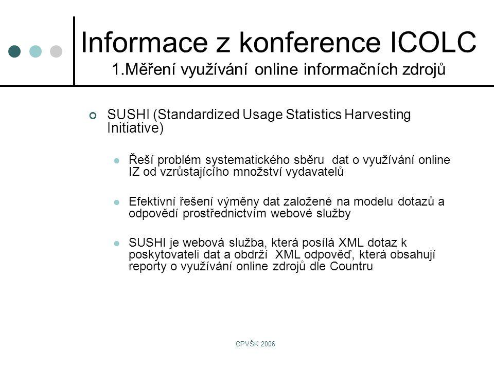 CPVŠK 2006 Informace z konference ICOLC 1.Měření využívání online informačních zdrojů SUSHI (Standardized Usage Statistics Harvesting Initiative)  Řeší problém systematického sběru dat o využívání online IZ od vzrůstajícího množství vydavatelů  Efektivní řešení výměny dat založené na modelu dotazů a odpovědí prostřednictvím webové služby  SUSHI je webová služba, která posílá XML dotaz k poskytovateli dat a obdrží XML odpověď, která obsahují reporty o využívání online zdrojů dle Countru