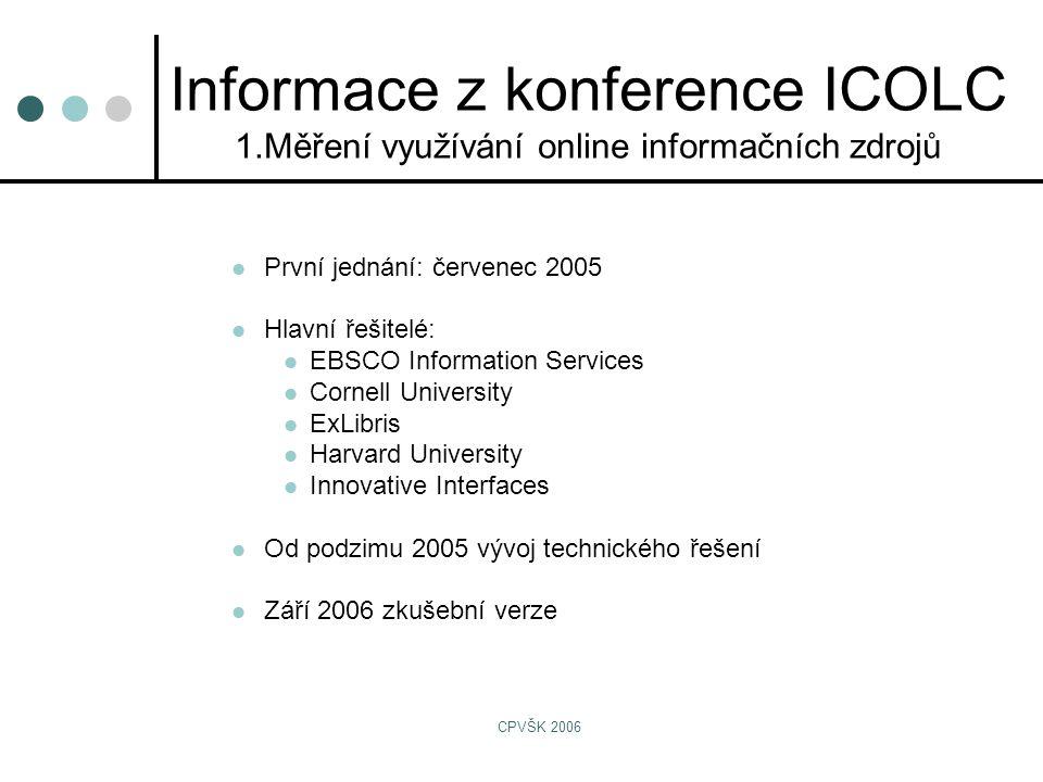 CPVŠK 2006  První jednání: červenec 2005  Hlavní řešitelé:  EBSCO Information Services  Cornell University  ExLibris  Harvard University  Innovative Interfaces  Od podzimu 2005 vývoj technického řešení  Září 2006 zkušební verze Informace z konference ICOLC 1.Měření využívání online informačních zdrojů
