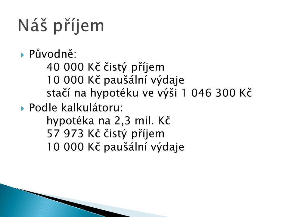 PPůvodně: 40 000 Kč čistý příjem 10 000 Kč paušální výdaje stačí na hypotéku ve výši 1 046 300 Kč PPodle kalkulátoru: hypotéka na 2,3 mil.