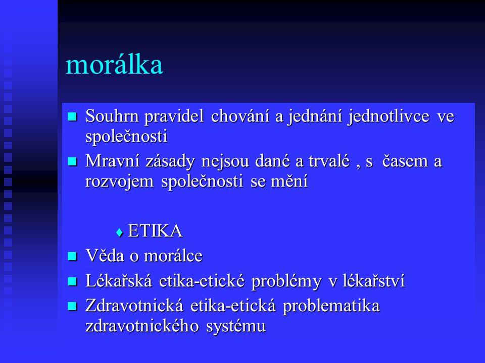 morálka  Souhrn pravidel chování a jednání jednotlivce ve společnosti  Mravní zásady nejsou dané a trvalé, s časem a rozvojem společnosti se mění  ETIKA  Věda o morálce  Lékařská etika-etické problémy v lékařství  Zdravotnická etika-etická problematika zdravotnického systému