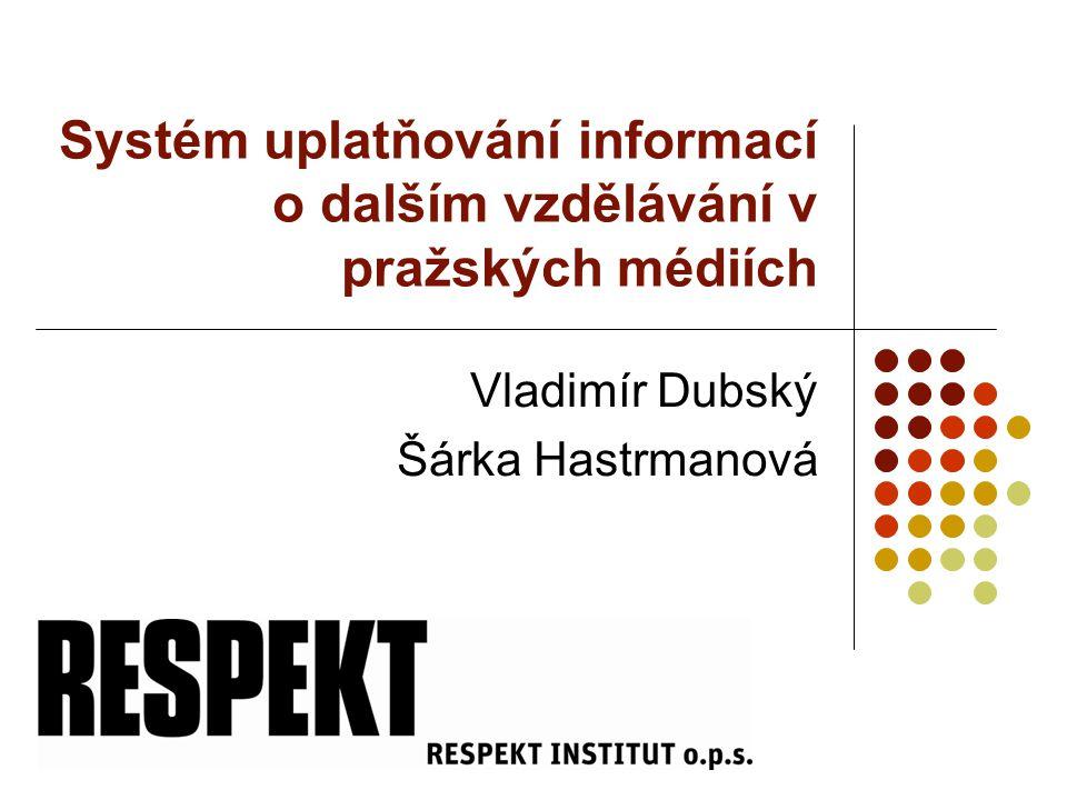 Systém uplatňování informací o dalším vzdělávání v pražských médiích Vladimír Dubský Šárka Hastrmanová