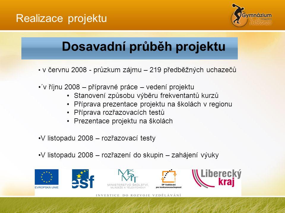 Realizace projektu • v červnu 2008 - průzkum zájmu – 219 předběžných uchazečů •´v říjnu 2008 – přípravné práce – vedení projektu •Stanovení způsobu vý
