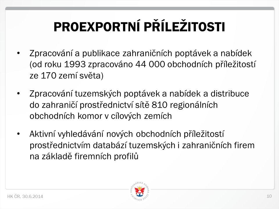 10 HK ČR, 30.6.2014 • Zpracování a publikace zahraničních poptávek a nabídek (od roku 1993 zpracováno 44 000 obchodních příležitostí ze 170 zemí světa