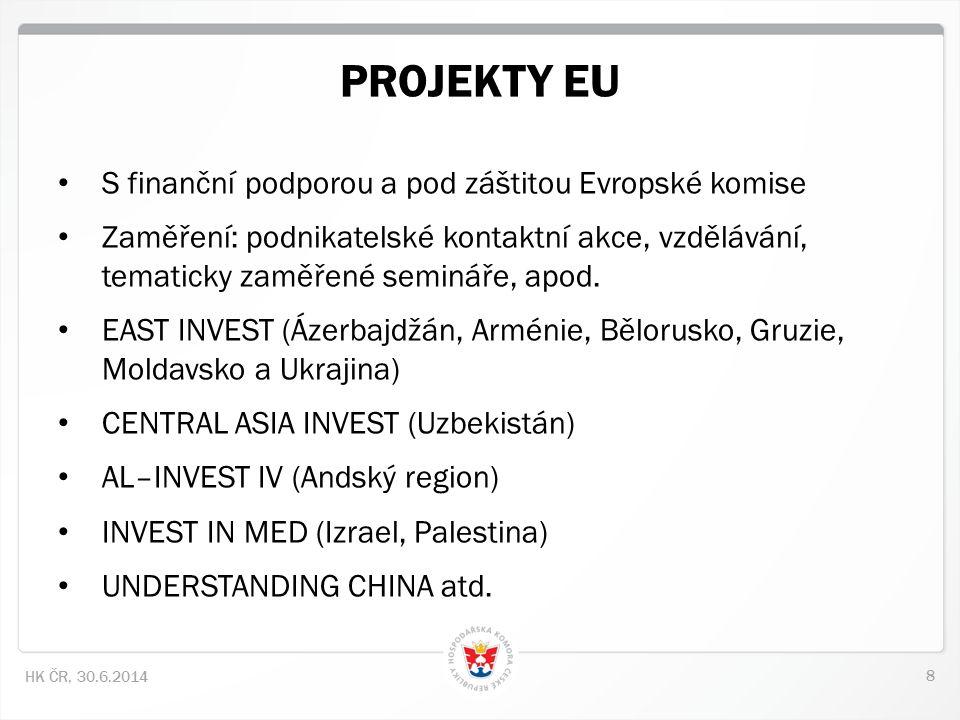 8 HK ČR, 30.6.2014 • S finanční podporou a pod záštitou Evropské komise • Zaměření: podnikatelské kontaktní akce, vzdělávání, tematicky zaměřené semin