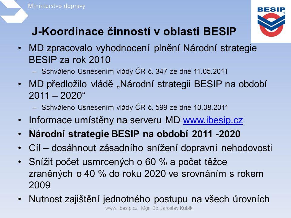 J-Koordinace činností v oblasti BESIP •MD zpracovalo vyhodnocení plnění Národní strategie BESIP za rok 2010 –Schváleno Usnesením vlády ČR č. 347 ze dn