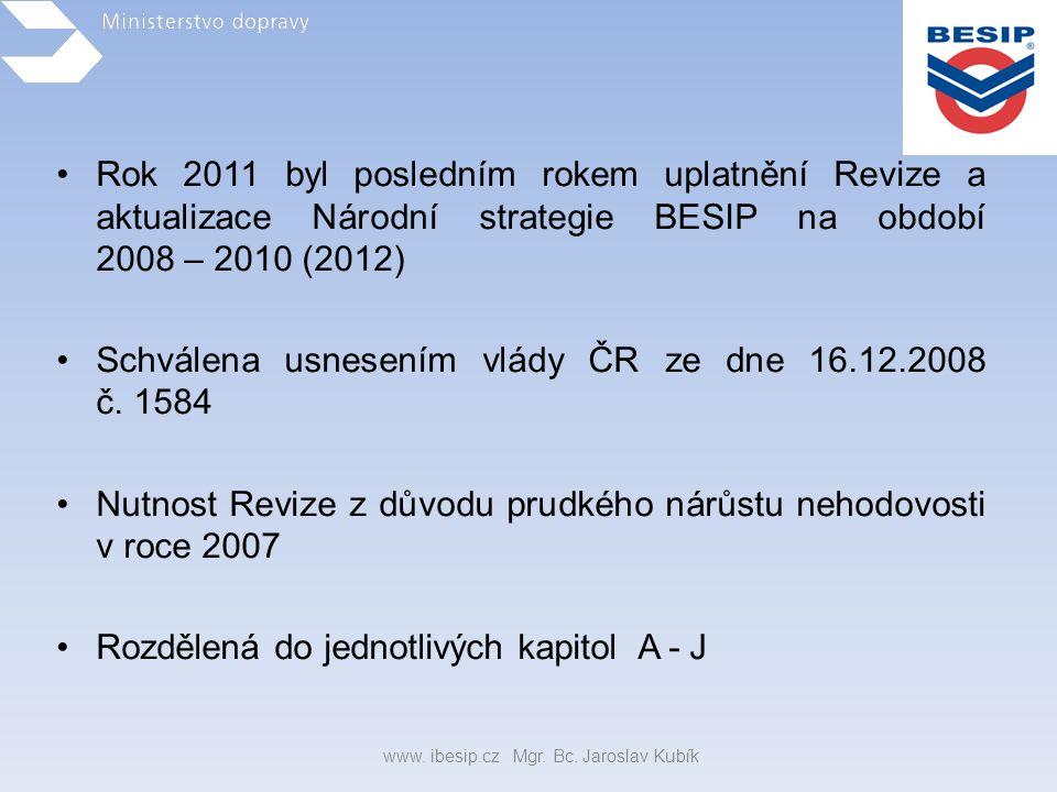 •Rok 2011 byl posledním rokem uplatnění Revize a aktualizace Národní strategie BESIP na období 2008 – 2010 (2012) •Schválena usnesením vlády ČR ze dne