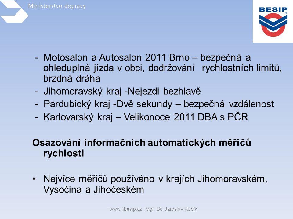 - Motosalon a Autosalon 2011 Brno – bezpečná a ohleduplná jízda v obci, dodržování rychlostních limitů, brzdná dráha - Jihomoravský kraj -Nejezdi bezh