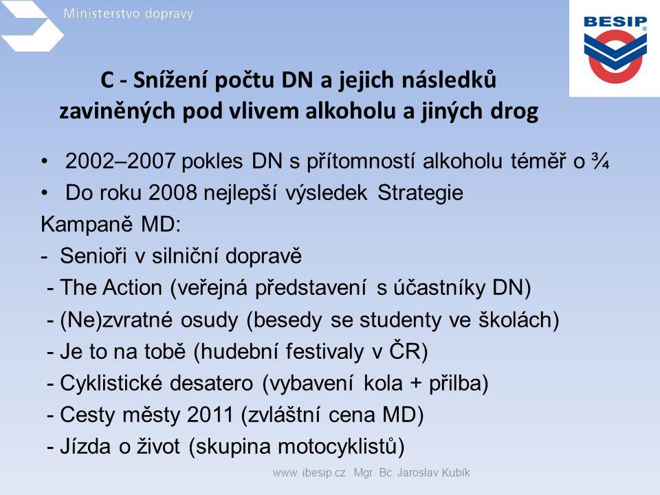 C - Snížení počtu DN a jejich následků zaviněných pod vlivem alkoholu a jiných drog •2002–2007 pokles DN s přítomností alkoholu téměř o ¾ •Do roku 200