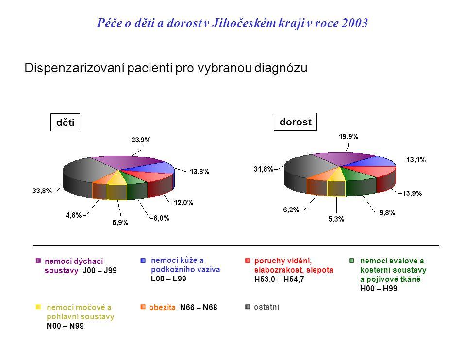 Péče o děti a dorost v Jihočeském kraji v roce 2003 Dispenzarizovaní pacienti pro vybranou diagnózu děti dorost nemoci dýchací soustavy J00 – J99 nemoci kůže a podkožního vaziva L00 – L99 poruchy vidění, slabozrakost, slepota H53,0 – H54,7 nemoci svalové a kosterní soustavy a pojivové tkáně H00 – H99 nemoci močové a pohlavní soustavy N00 – N99 obezita N66 – N68 ostatní