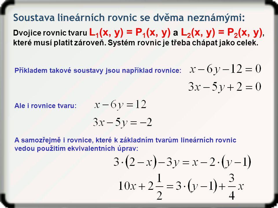 Soustava lineárních rovnic se dvěma neznámými: Dvojice rovnic tvaru L 1 (x, y) = P 1 (x, y) a L 2 (x, y) = P 2 (x, y), které musí platit zároveň. Syst