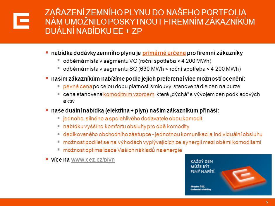 """6 POZITIVNÍ REAKCE ZÁKAZNÍKŮ NA NAŠI NABÍDKU PŘEDČILA VŠECHNA NAŠE OČEKÁVÁNÍ, COŽ JE PRO NÁS ZÁVAZEK I DO BUDOUCNA ČEZ ProdejJednotkyCE 2010 Počty zákazníků [ks]221 Počty OM [ks]464 Roční objem ZP [GWh]1 902 Zemní plyn Tržní podíl *VOSOMOCelkem ČEZ Prodej 4,5%2,1%0,2%2,2%  skupina ČEZ svým úspěšným vstupem na trh se zemním plynem výrazně podpořila tržní prostředí pro tuto komoditu v ČR:  VOČR - 389 OMz toho ČEZ Prodej104 OM27%  SO ČR - 390 OMz toho ČEZ Prodej 56 OM14%  také díky působení Skupiny ČEZ se liberalizace trhu se ZP skutečně akcelerovala a i přes rozdílnost obou trhů se trhy (ZP a EE) k sobě přibližují a v některých aspektech se """"rodí společný energetický trh  oba trhy mají společné hráče - zákazníci/spotřebitelé x E.ON, RWE, ČEZ, … x OTE Zdroj: ČEZ, Bilanční centrum; * smluvené hodnoty pro rok 2010"""