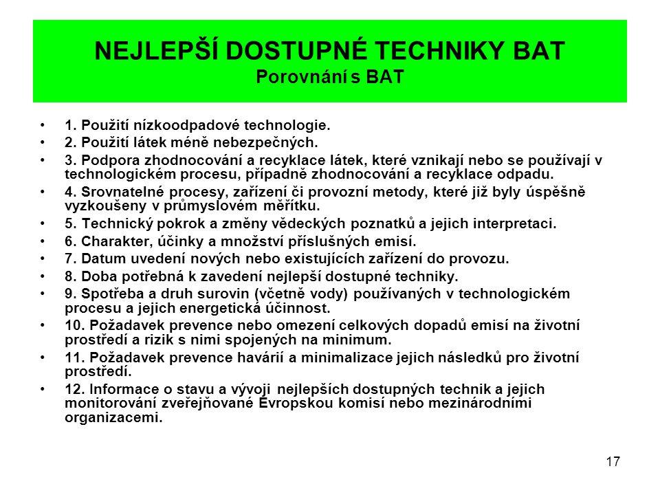 17 NEJLEPŠÍ DOSTUPNÉ TECHNIKY BAT Porovnání s BAT •1. Použití nízkoodpadové technologie. •2. Použití látek méně nebezpečných. •3. Podpora zhodnocování