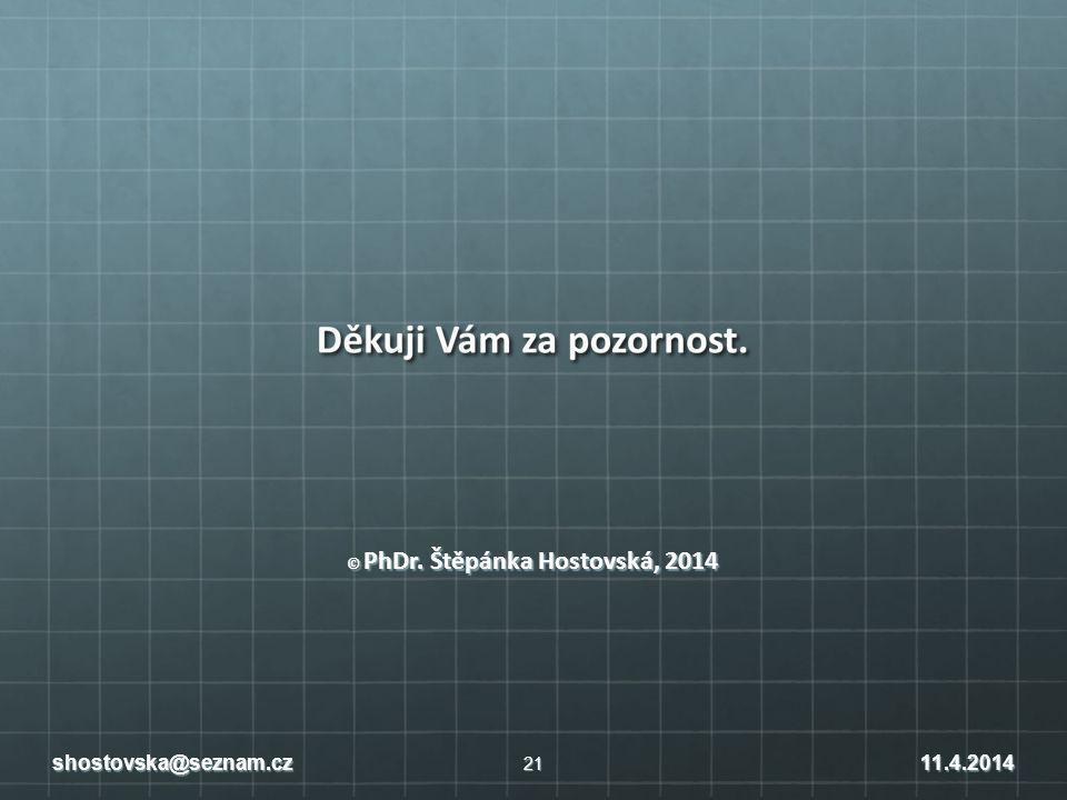 © PhDr. Štěpánka Hostovská, 2014 21 shostovska@seznam.cz11.4.2014