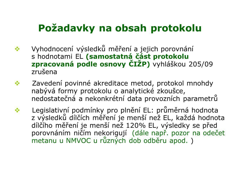 Požadavky na obsah protokolu  Vyhodnocení výsledků měření a jejich porovnání s hodnotami EL (samostatná část protokolu zpracovaná podle osnovy ČIŽP) vyhláškou 205/09 zrušena  Zavedení povinné akreditace metod, protokol mnohdy nabývá formy protokolu o analytické zkoušce, nedostatečná a nekonkrétní data provozních parametrů  Legislativní podmínky pro plnění EL: průměrná hodnota z výsledků dílčích měření je menší než EL, každá hodnota dílčího měření je menší než 120% EL, výsledky se před porovnáním ničím nekorigují (dále např.