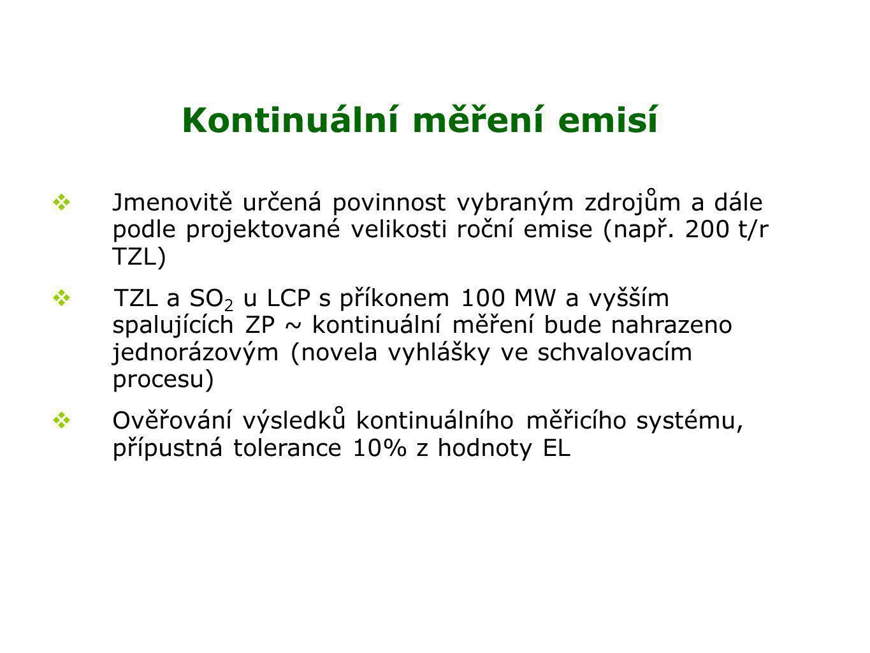 Kontinuální měření emisí  Jmenovitě určená povinnost vybraným zdrojům a dále podle projektované velikosti roční emise (např.