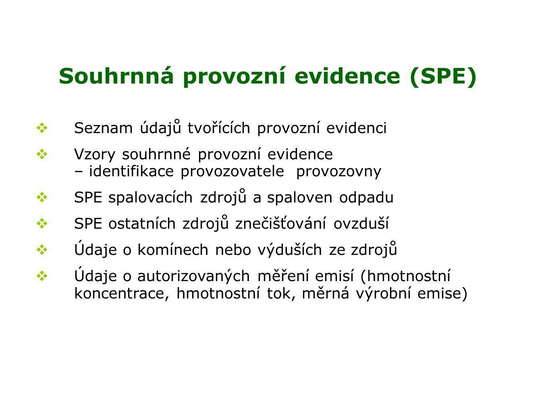 Souhrnná provozní evidence (SPE)  Seznam údajů tvořících provozní evidenci  Vzory souhrnné provozní evidence – identifikace provozovatele provozovny  SPE spalovacích zdrojů a spaloven odpadu  SPE ostatních zdrojů znečišťování ovzduší  Údaje o komínech nebo výduších ze zdrojů  Údaje o autorizovaných měření emisí (hmotnostní koncentrace, hmotnostní tok, měrná výrobní emise)