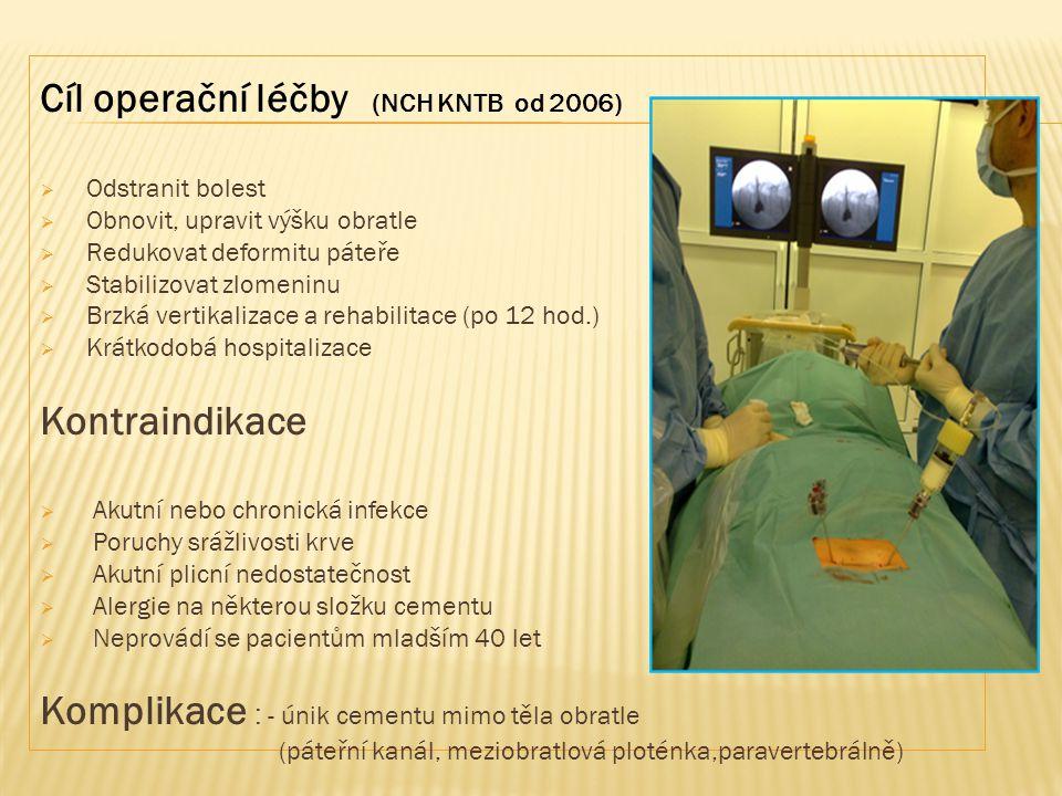 Cíl operační léčby (NCH KNTB od 2006)  Odstranit bolest  Obnovit, upravit výšku obratle  Redukovat deformitu páteře  Stabilizovat zlomeninu  Brzk