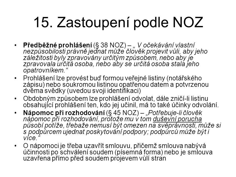 """15. Zastoupení podle NOZ •Předběžné prohlášení (§ 38 NOZ) – """" V očekávání vlastní nezpůsobilosti právně jednat může člověk projevit vůli, aby jeho zál"""