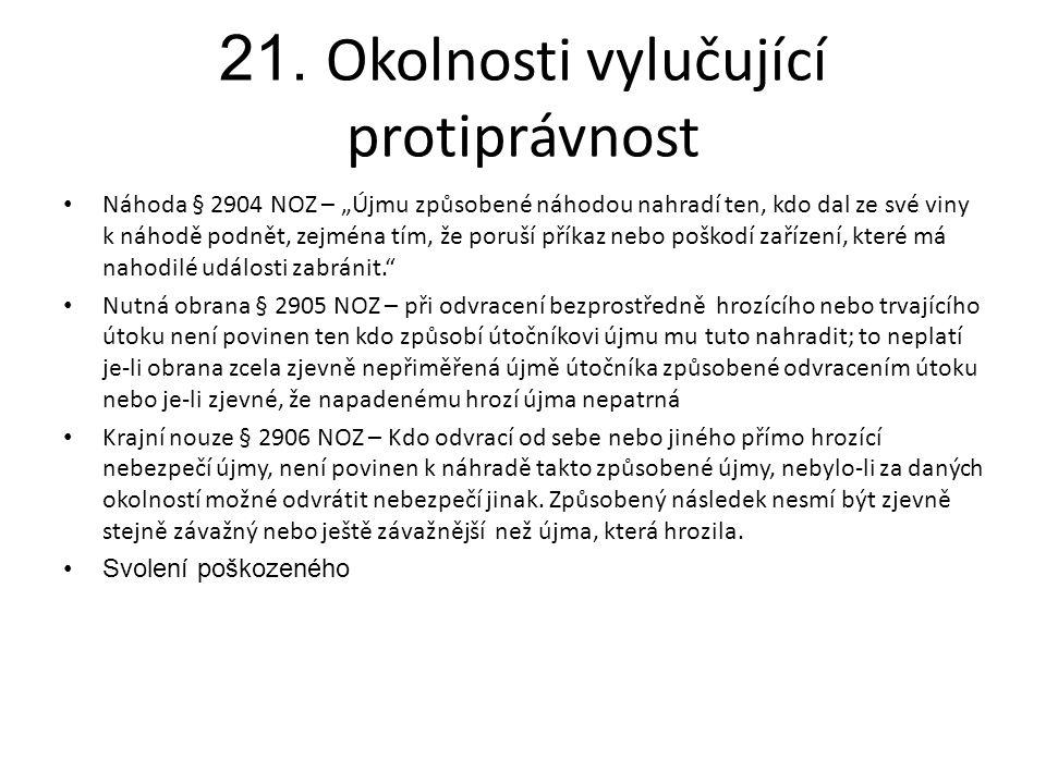 """21. Okolnosti vylučující protiprávnost • Náhoda § 2904 NOZ – """"Újmu způsobené náhodou nahradí ten, kdo dal ze své viny k náhodě podnět, zejména tím, že"""
