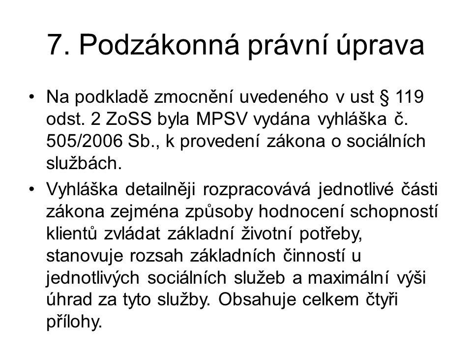 7. Podzákonná právní úprava •Na podkladě zmocnění uvedeného v ust § 119 odst. 2 ZoSS byla MPSV vydána vyhláška č. 505/2006 Sb., k provedení zákona o s