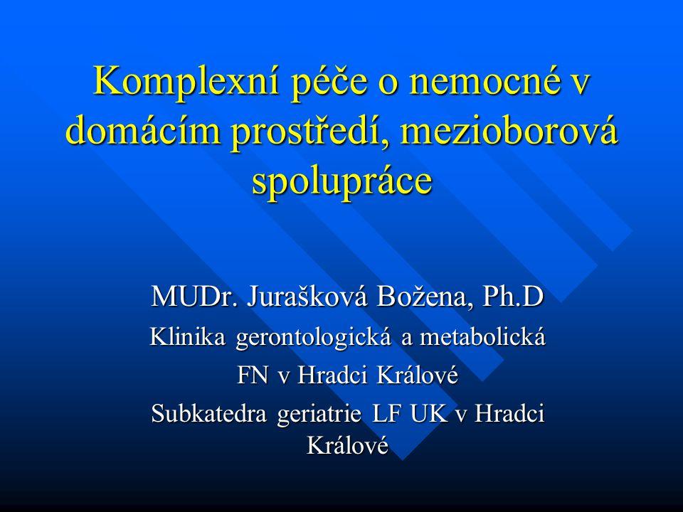 Komplexní péče o nemocné v domácím prostředí, mezioborová spolupráce MUDr. Jurašková Božena, Ph.D Klinika gerontologická a metabolická FN v Hradci Krá